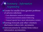 summary information asymmetry