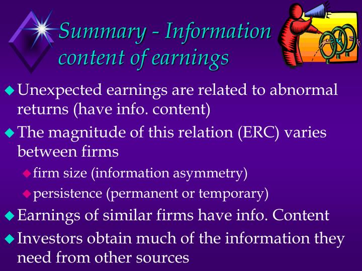 Summary - Information content of earnings