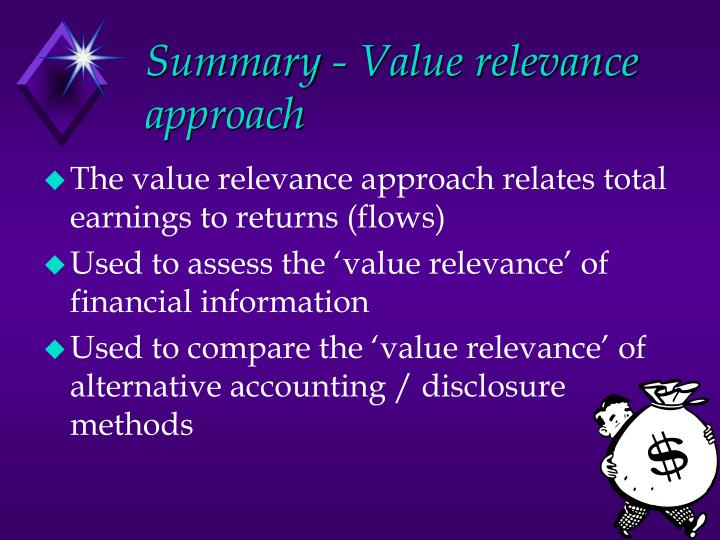Summary - Value relevance approach