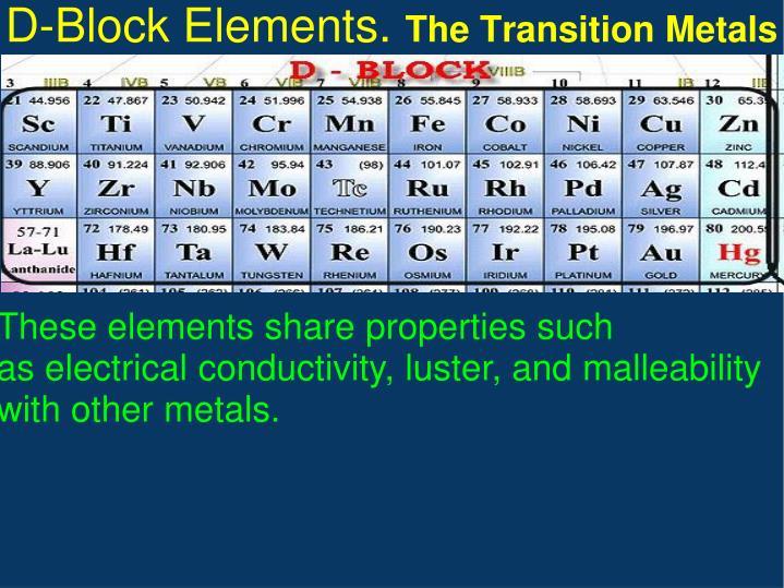 D-Block Elements.