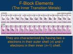 f block elements the inner transition metals