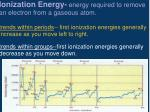 ionization energy energy required to remove an electron from a gaseous atom