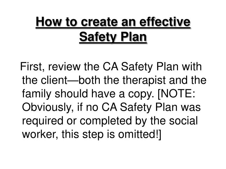 How to create an effective  Safety Plan
