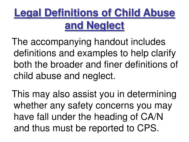 Legal Definitions of Child Abuse and Neglect