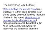 the safety plan tells the family