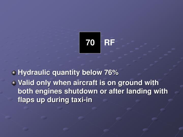 Hydraulic quantity below 76%