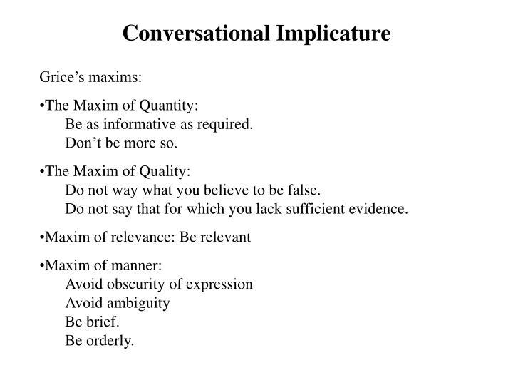Conversational Implicature