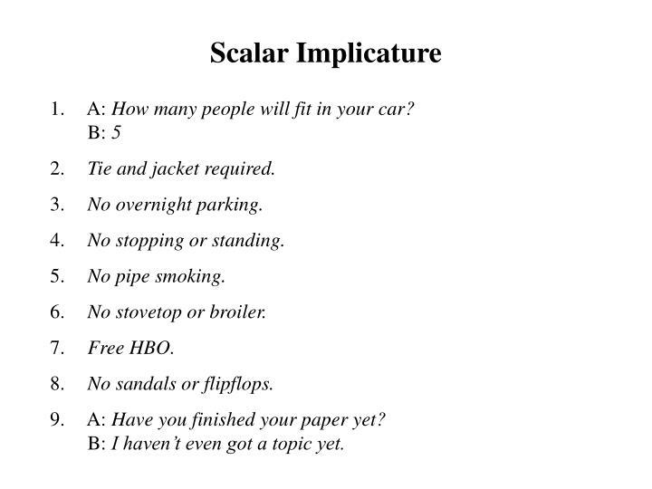 Scalar Implicature