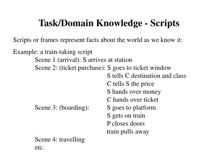 Task/Domain Knowledge - Scripts