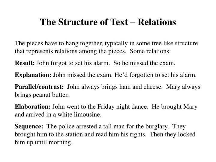 The Structure of Text – Relations