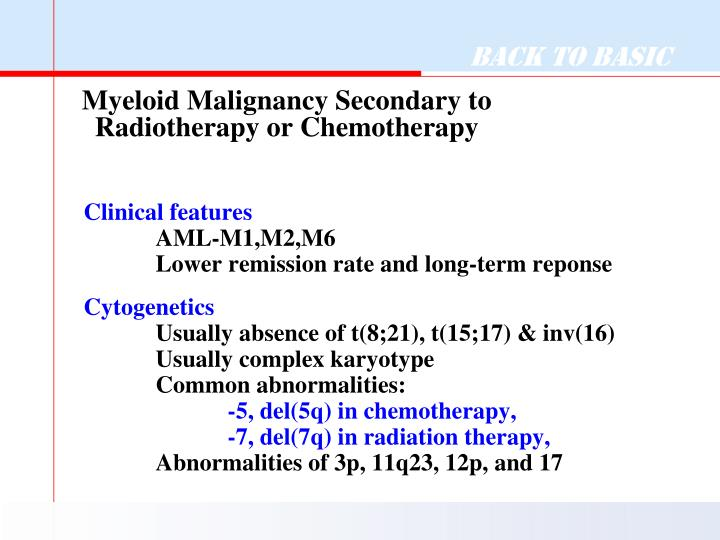 Myeloid Malignancy Secondary to Radiotherapy or Chemotherapy