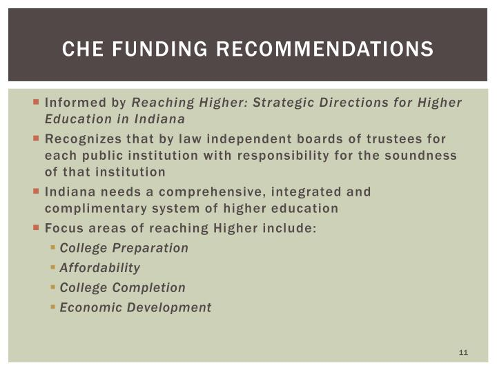 CHE Funding Recommendations