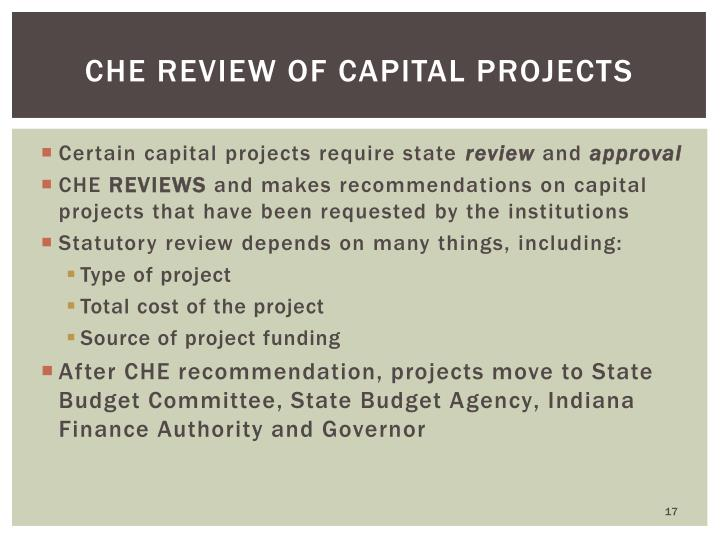 CHE Review of Capital projects