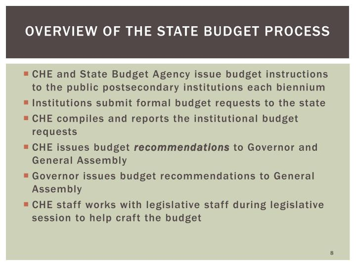 Overview of the State Budget Process