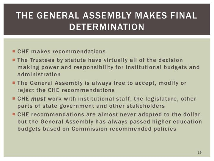 The General Assembly makes final determination