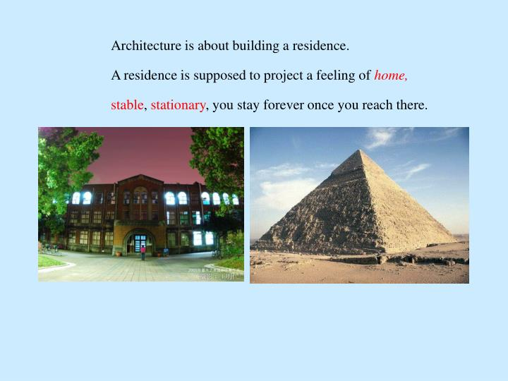 Architecture is about building a residence.