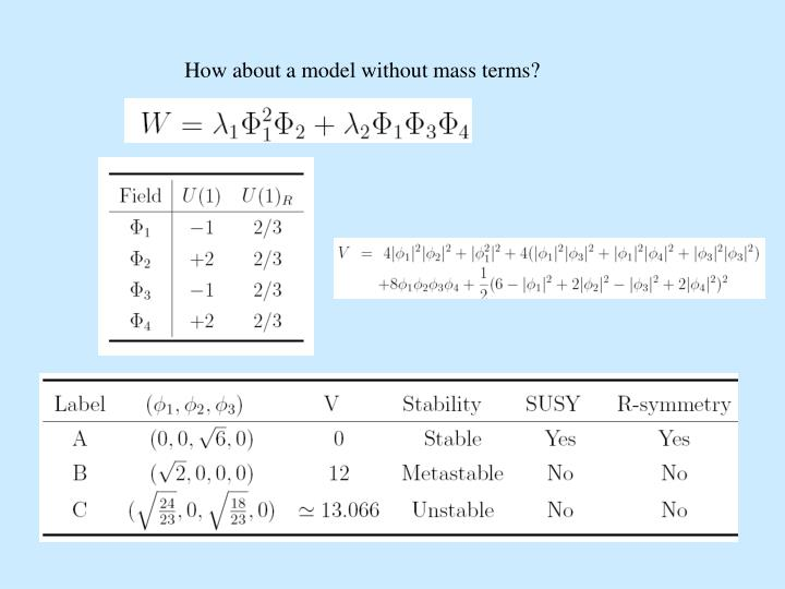 How about a model without mass terms?