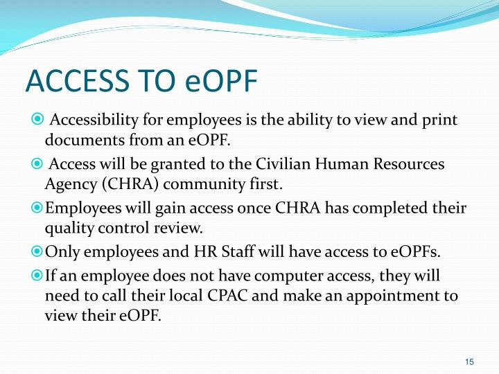 ACCESS TO eOPF