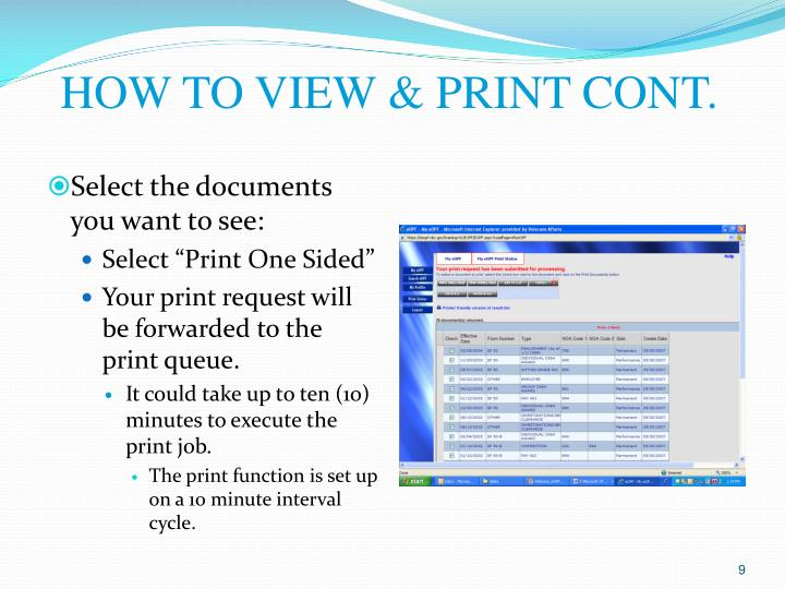 HOW TO VIEW & PRINT CONT.