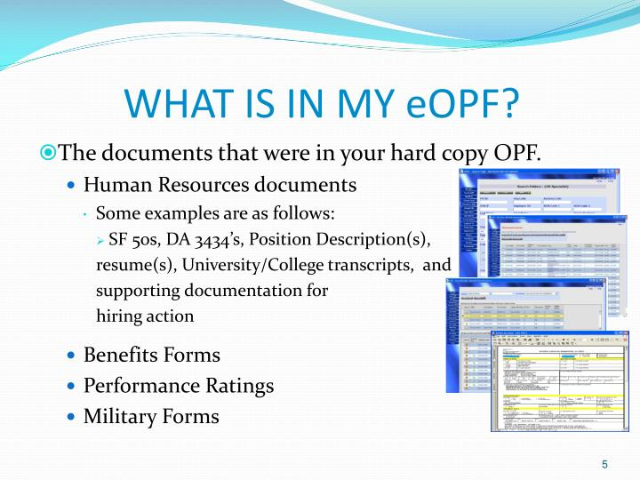 WHAT IS IN MY eOPF?