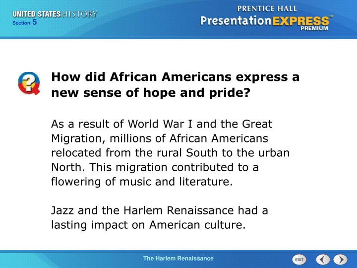 How did African Americans express a new sense of hope and pride?