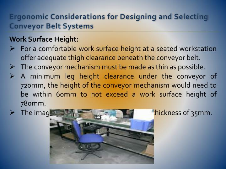 Work Surface Height:
