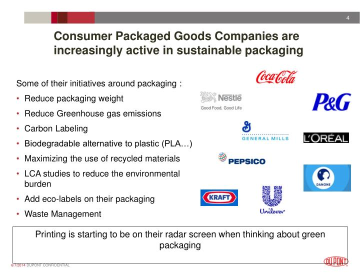 Consumer Packaged Goods Companies are  increasingly active in sustainable packaging