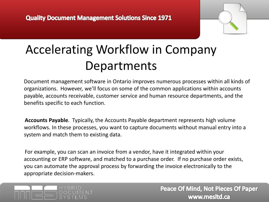 Accelerating Workflow in Company Departments