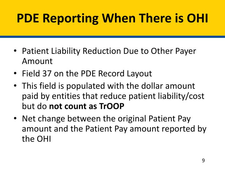 PDE Reporting When There is OHI