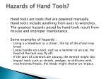 hazards of hand tools