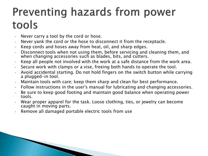 Preventing hazards from power tools