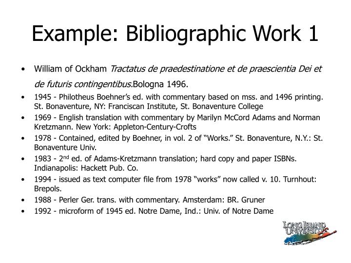 Example: Bibliographic Work 1