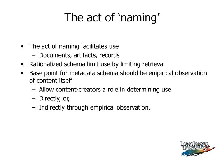 The act of 'naming'