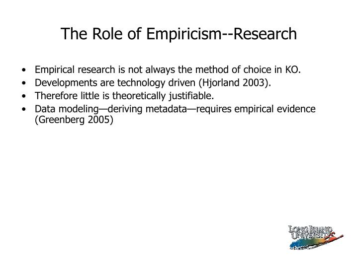 The Role of Empiricism--Research