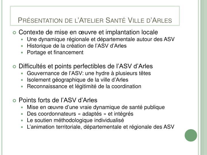 Présentation de l'Atelier Santé Ville d'Arles