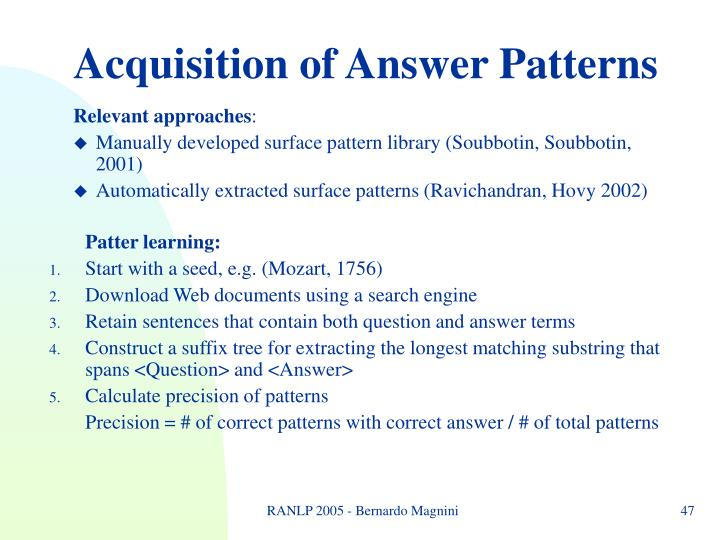 Acquisition of Answer Patterns