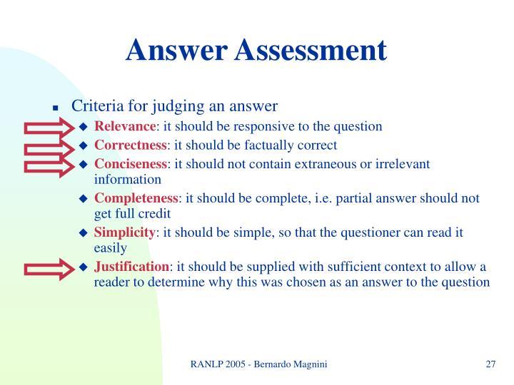 Answer Assessment