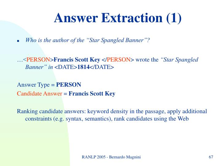 Answer Extraction (1)