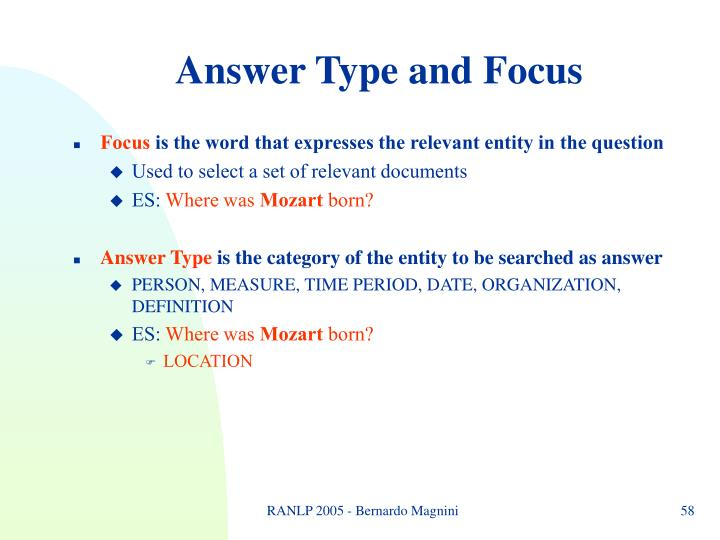 Answer Type and Focus