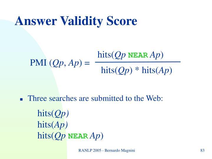 Answer Validity Score