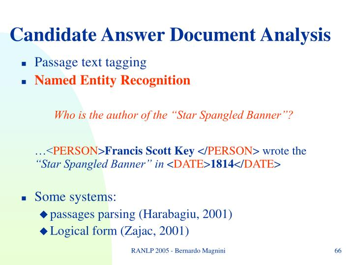 Candidate Answer Document Analysis