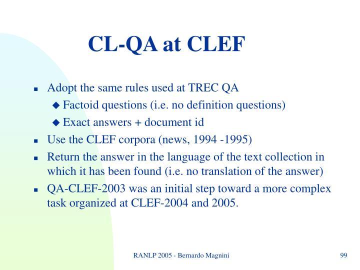 CL-QA at CLEF