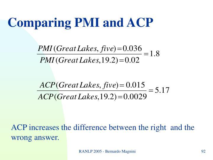Comparing PMI and ACP