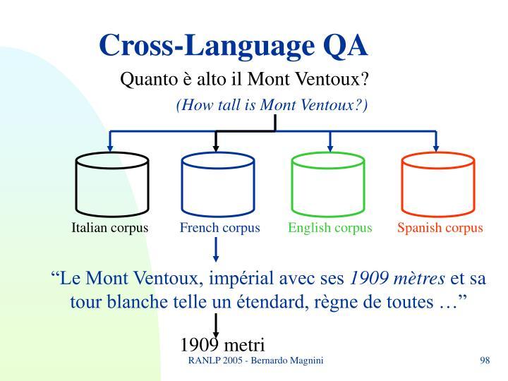 Cross-Language QA