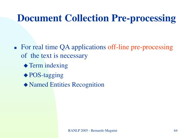 Document Collection Pre-processing