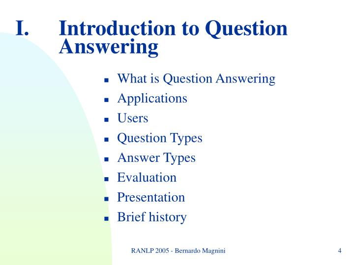 Introduction to Question