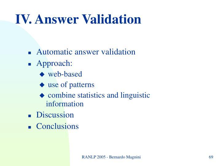 IV. Answer Validation