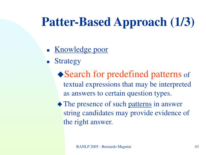 Patter-Based Approach (1/3)