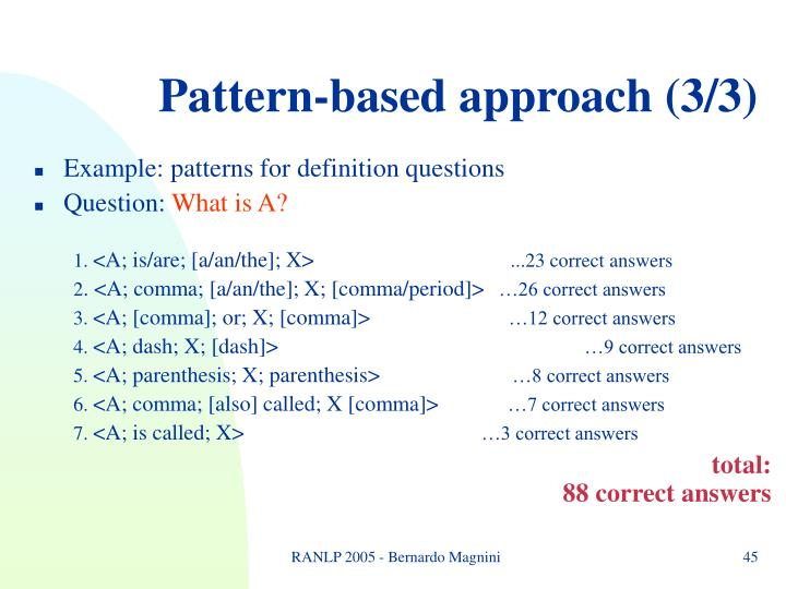 Pattern-based approach (3/3)