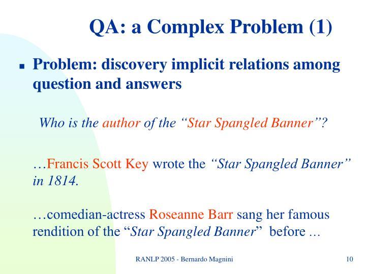 QA: a Complex Problem (1)